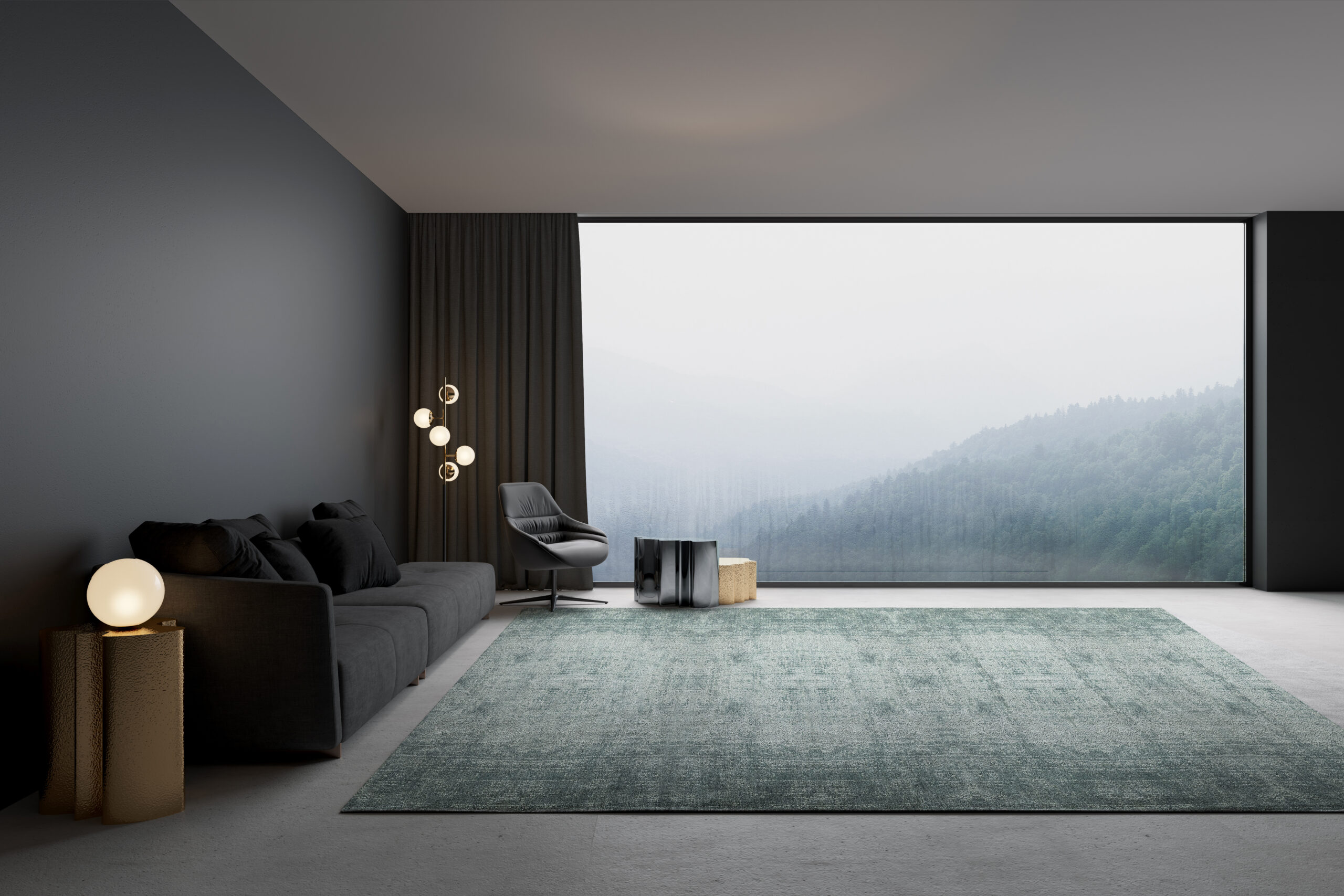 Modern living room with with mountain view and a luxury carpet by Luxury Carpet Studio